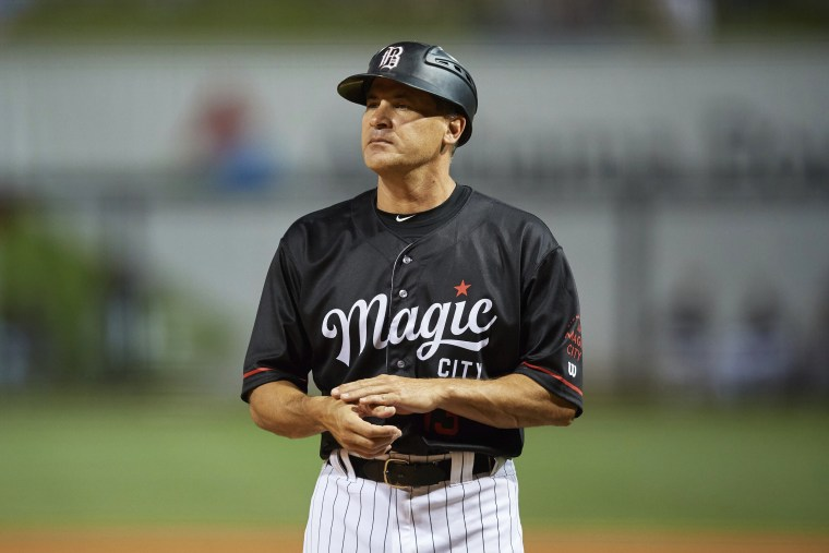 Birmingham Barons manager Omar Vizquel looks on during a game against the Chattanooga Lookouts on May 2, 2019, in Birmingham, Ala.