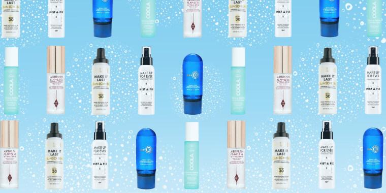 Illustration of different makeup setting sprays