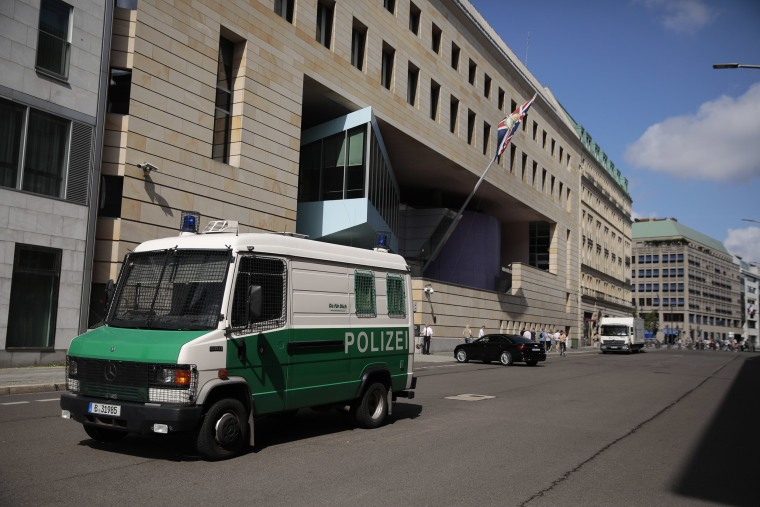 Image: A police vehicle outside the British Embassy on Aug.11, 2021 in Berlin, Germany.