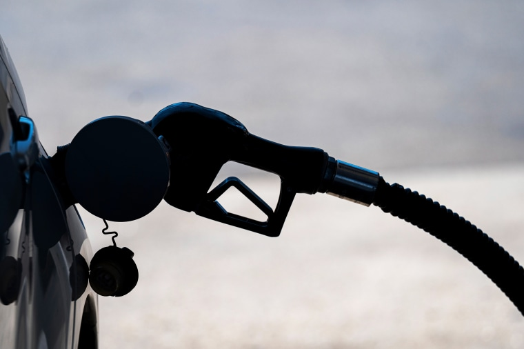 A driver fills up the tank at a Chevron gas station in Sacramento, Calif., on July 7, 2021.
