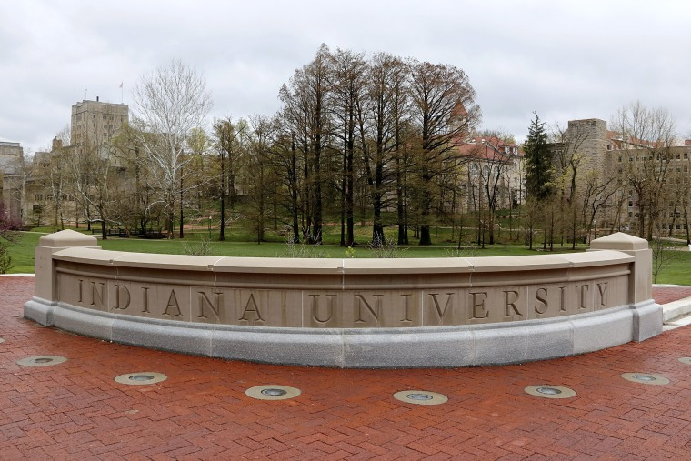 Image: Entrance sign into campus at Indiana University in Bloomington Indiana.