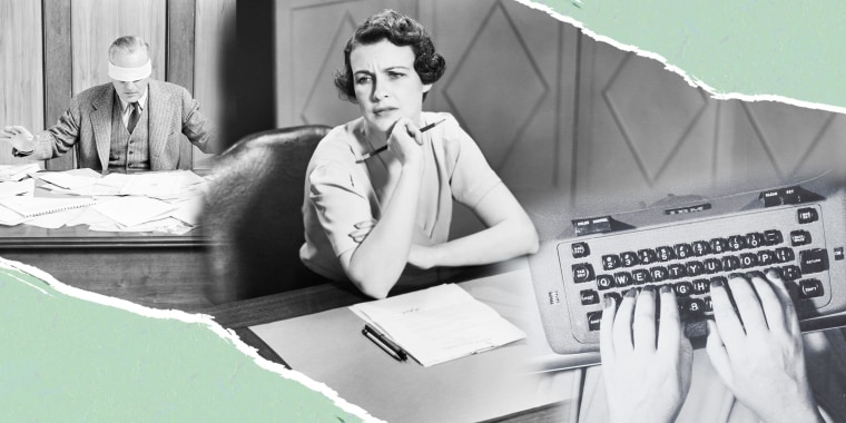Three vintage photos in black and white, of a man and woman at their work desk, and a hand typing on a typewriter