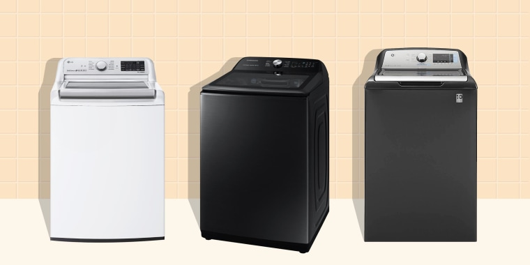 Illustration of three different brands of top load washers