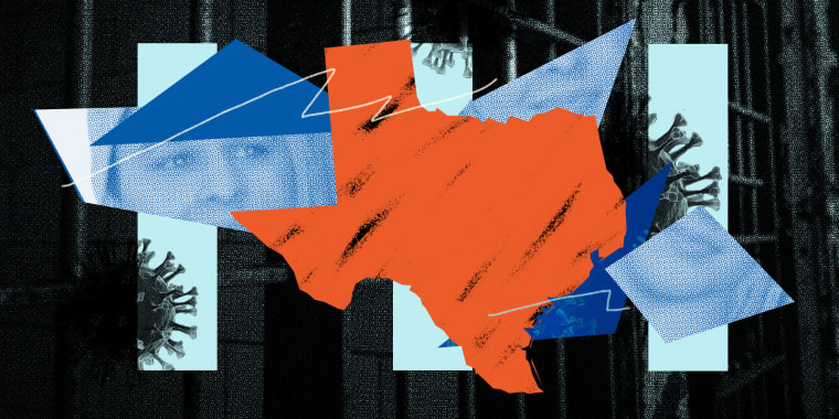 Photo illustration: Against a prison cell in the background, blue strips show Covid-19 spores, fragments of a boy's photo and the map of Texas.