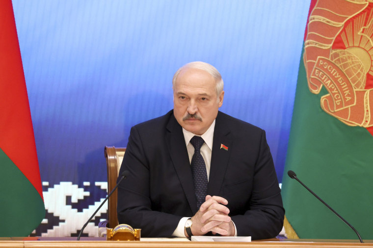 Image: President Alexander Lukashenko during a meeting with officials in Minsk, Belarus on July 23, 2021.