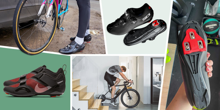 Illustration of a man cycling indoors, a person cycling outdoors, someone holding a pair of spin shoes with delta clip-ons, a pair of Nike SuperRep Cycle and a pair of Sidi Genius 10 spin shoes