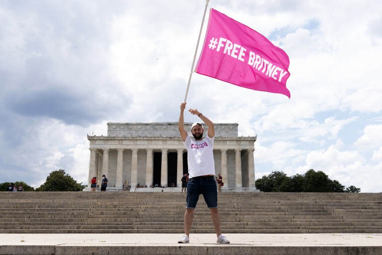 A supporter of Britney Spears protests her conservatorship at the Lincoln Memorial on July 14, 2021.