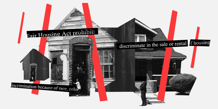 """Photo illustration: Houses lined up with red bars all around them. Text strips over them read,\"""" Fair Housing Act prohibits..\"""", \""""discriminate in the sale or rental of housing\"""" and \""""discrimination because of race, color\""""."""