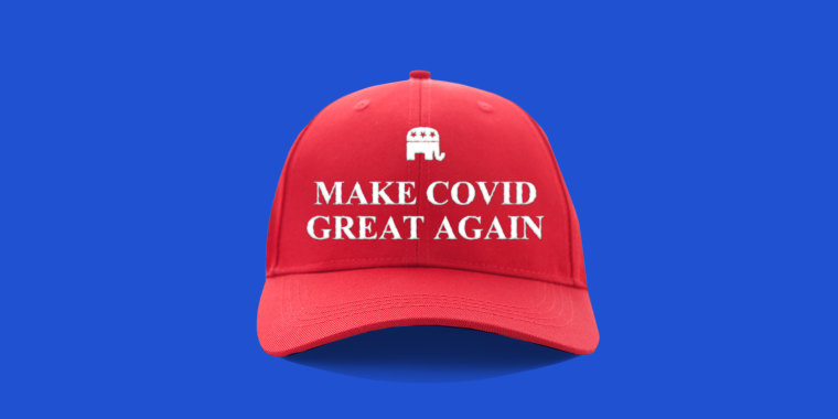 """Photo illustration: A red cap that reads,\""""Make Covid Great Again\"""" with the Republican party elephant above it."""