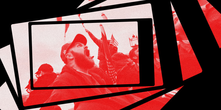 Photo illustration: Image of a man screaming at a rally inside a phone repeating and spiraling.