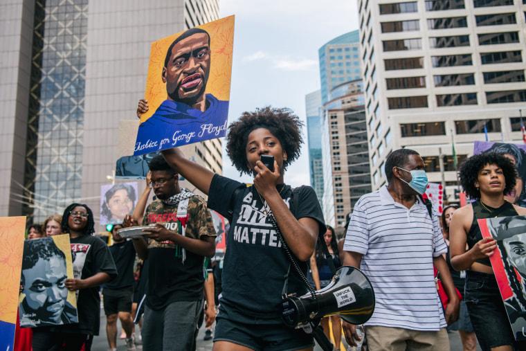 People celebrate the sentencing of former Minneapolis police officer Derek Chauvin on June 25, 2021 in Minneapolis.