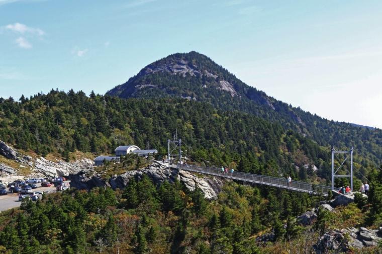 The Mile High Swinging Bridge up Grandfather Mountain, North Carolina