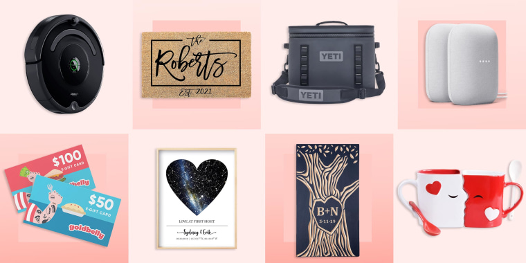 Illustration of eight different items to buy a newly engaged couple