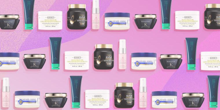 Illustration of different types of bottled hair masks