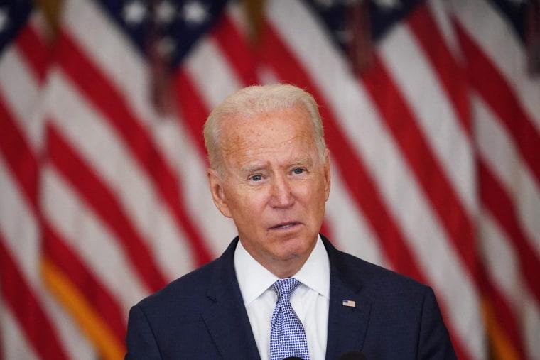President Joe Biden speaks at the White House on Aug. 12, 2021.