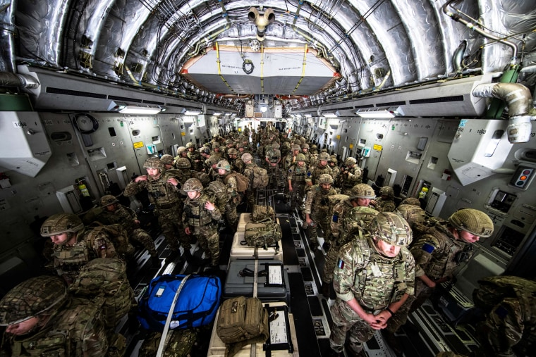 British Forces from 16 Air Assault Brigade arrive in Kabul on Aug. 15, 2021.