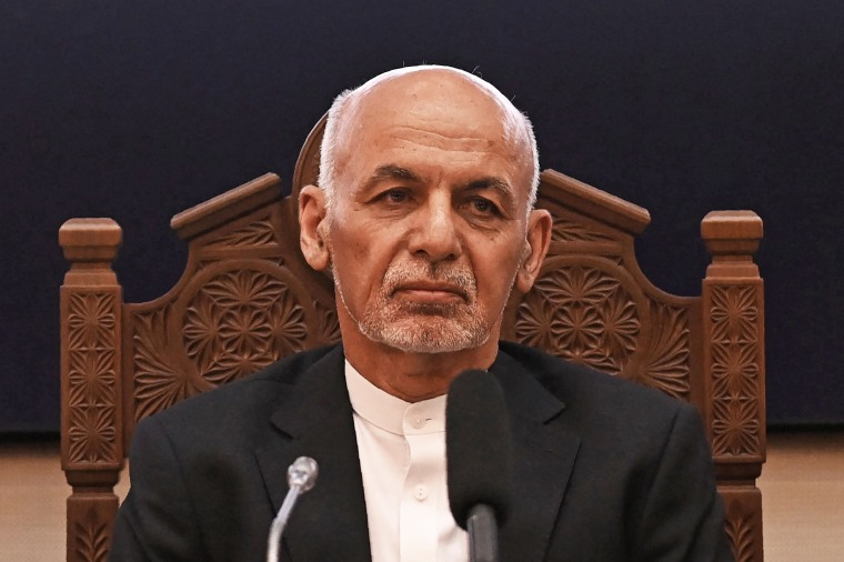 Afghanistan's President Ashraf Ghani looks on at a meeting at the Afghan presidential palace in Kabul on July 28, 2021.