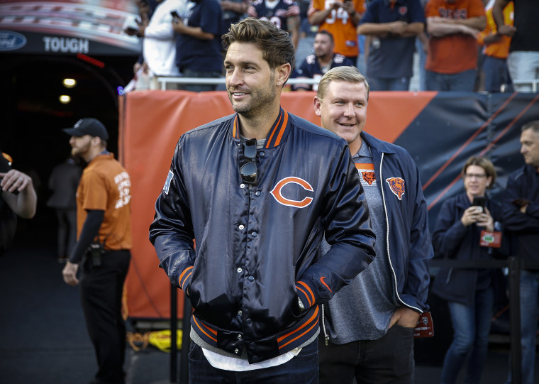 Former Chicago Bears quarterback Jay Cutler stands on the field prior to the game between the Chicago Bears and the Green Bay Packers at Soldier Field on Sept. 5, 2019 in Chicago.