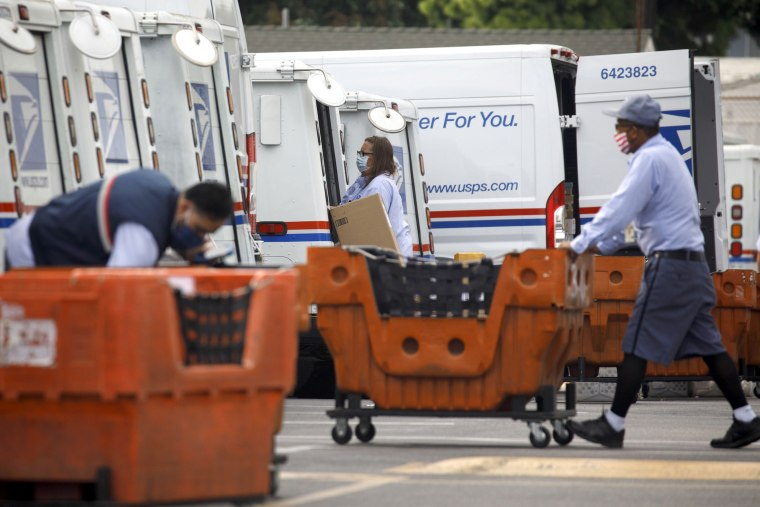 Image: Post Office Operations As Vote-by-Mail Fight Opens New Front For Democrats Against Trump