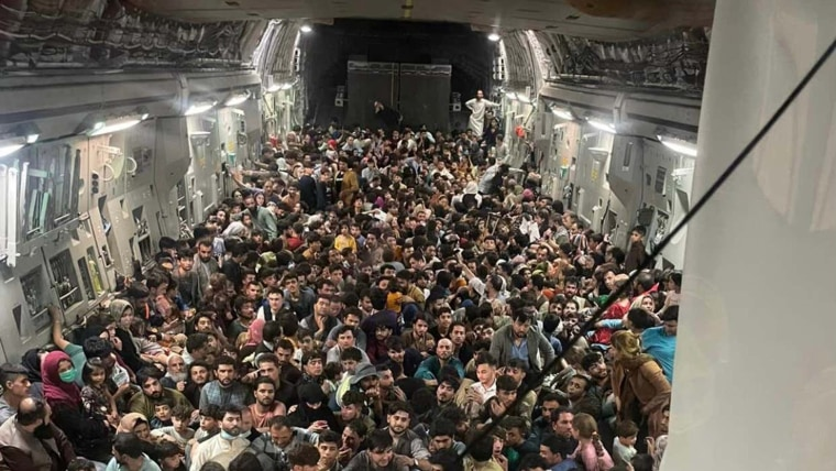 Image: A U.S. Air Force C-17 Globemaster III safely evacuated some 640 Afghans from Kabul late Sunday.