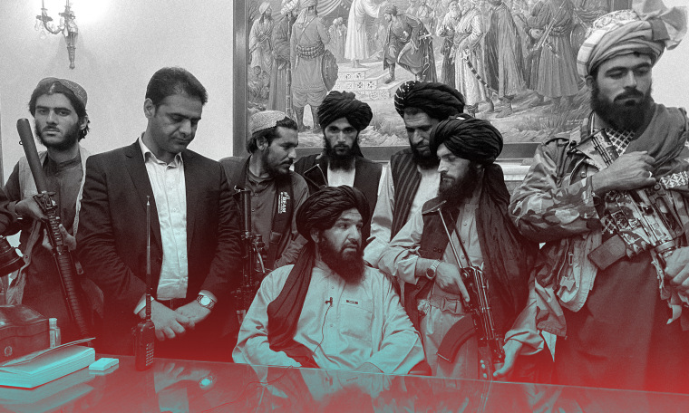 Image: Taliban fighters at the Afghan presidential palace.