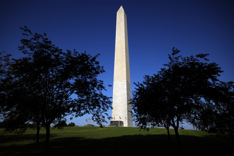 The Washington Monument is seen on the National Mall on July 14, 2021.