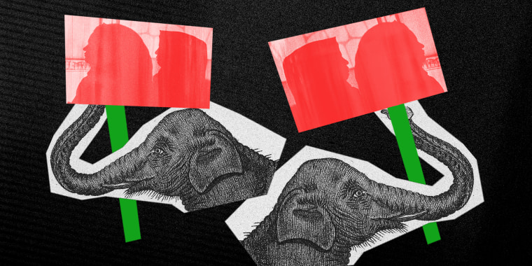 Photo illustration: Two cutouts of an elephant illustration, holding banners with the silhouettes of two Afghan women.