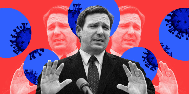 Photo illustration: Ron DeSantis speaking and blue circles behind him reveal Covid-19 spores.