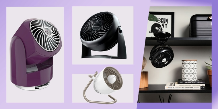 Illustration of three different styles and colors of desk fans and a lifestyle of a fan on someones desk