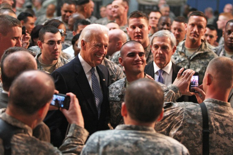 Then-Vice President Joe Biden meets with U.S. soldiers at Baghdad's Camp Victory on Jan. 13, 2011.