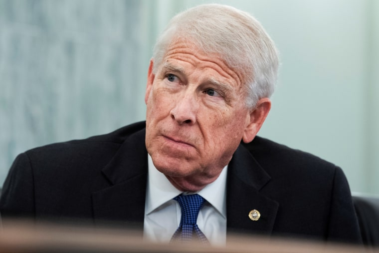 Sen. Roger Wicker, R-Miss., listens during a hearing on Capitol Hill on Jan. 26, 2021.