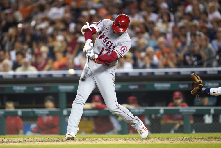Los Angeles Angels' Shohei Ohtani hits a solo home run against the Detroit Tigers in the eighth inning of a baseball game in Detroit on Aug. 18, 2021.