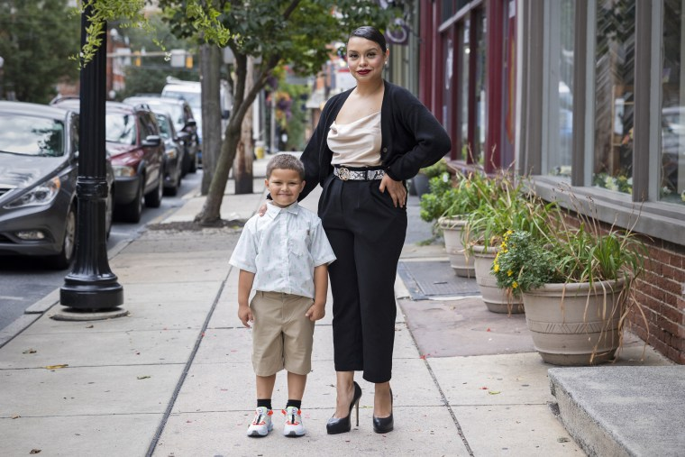 Ariana Garcia, 27, with her son Noel, 7, in Lancaster, Pa.