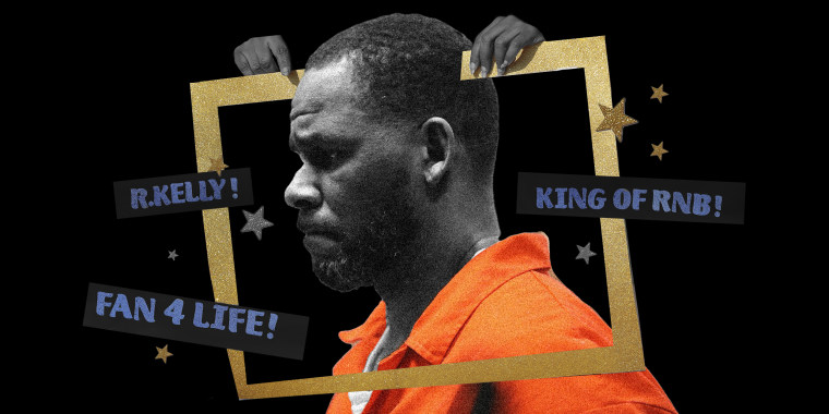 """Photo illustration: Profile of R. Kelly in an orange jumpsuit. two hands hold a cut out golden frame around him with stars and paper pieces that read,\""""R.Kelly!\"""",\""""Fan 4 Lyf!\"""" and \""""King of RNB!\"""""""