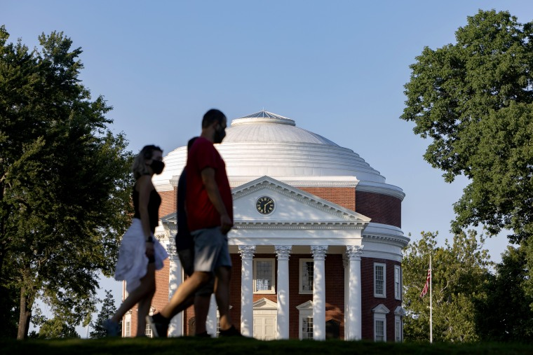 Students return to campus at the University of Virginia with new COVID-19 precautions.
