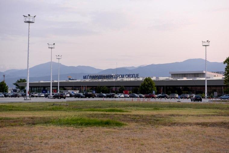 Skopje international airport in North Macedonia on Saturday.