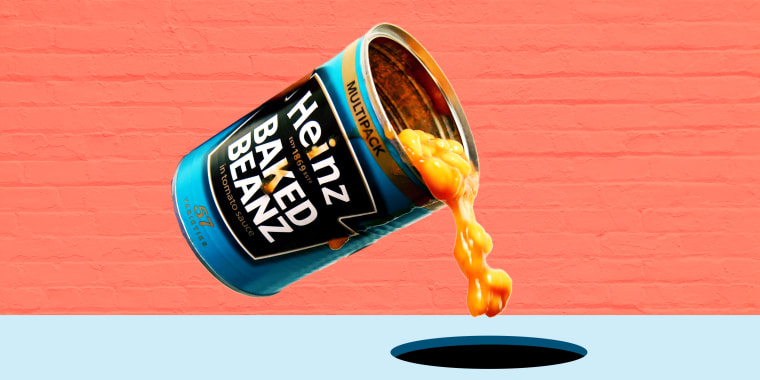 Illustration of a can of beans being spilled