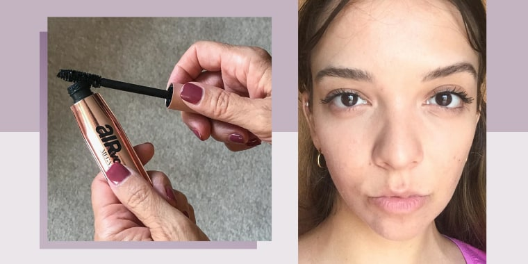 Two images of Writer Cailey Rizzo wearing L'Or?al Mega Mascara and holding the mascara brush