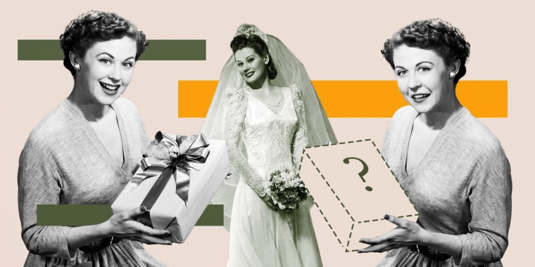 Illustration of a woman handing gifts to a bride