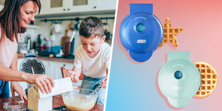 Illustration of a Mother and son preparing dough for waffles and two different Dash Mini Waffle Makers