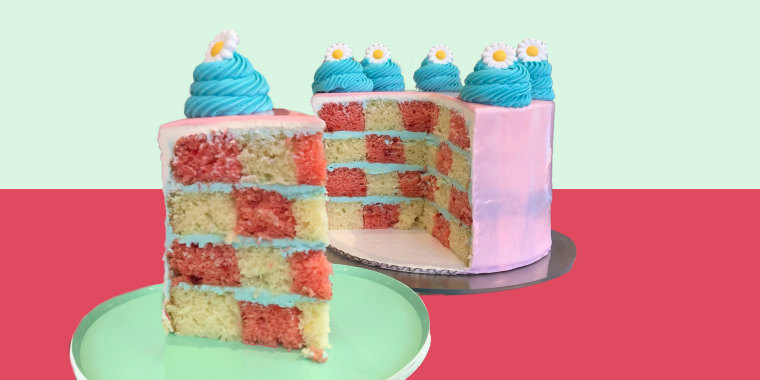 Cake on green and pink background