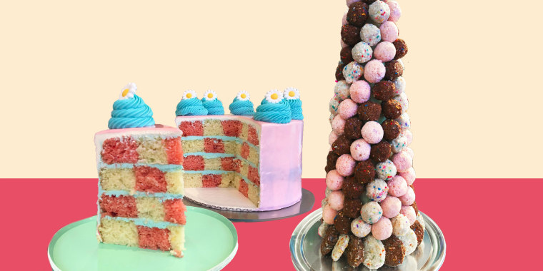 Cake and cake tower on pastel background