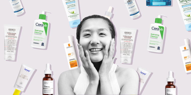 Illustration of a young women smiling touching her face and different skin care products raining behind her