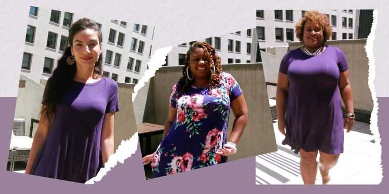 Illustration of three different Woman on a rooftop, wearing a $26 T-shirt dress from Amazon, in different sizes