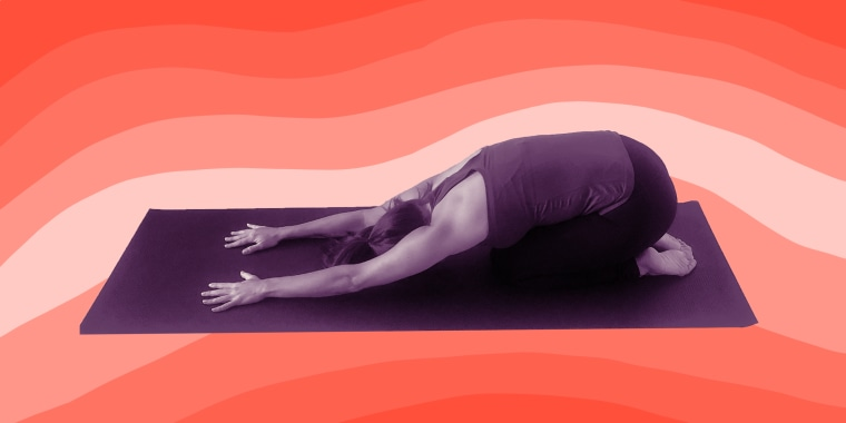 Child's pose stretches the back, quads, hips and ankles.
