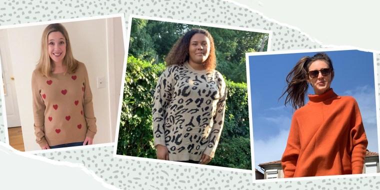 Image of writers Kamari Stewart, Rachel Abrahamson and Katie Jackson wearing three different sweaters from Amazon