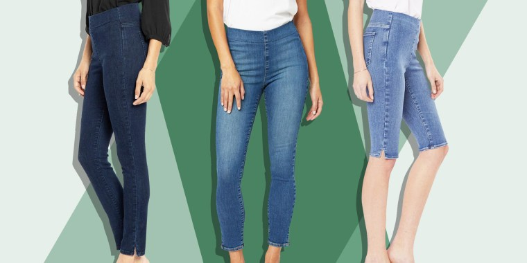 Illustration of three different Woman wearing pairs of NYDJ stretchy jeans