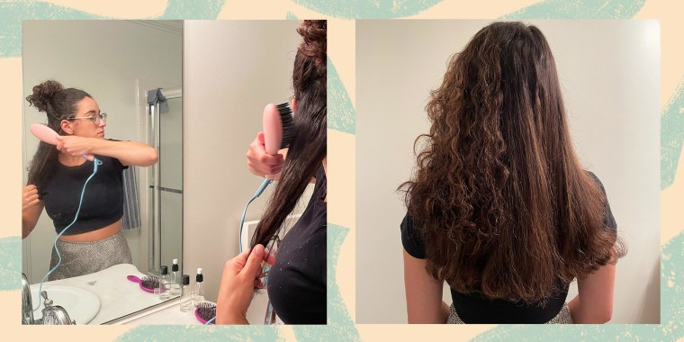 Two images of Writer Jillian Ortiz using a Flower Ceramic Hair Straightening Brush that brushes and straightens at the same time