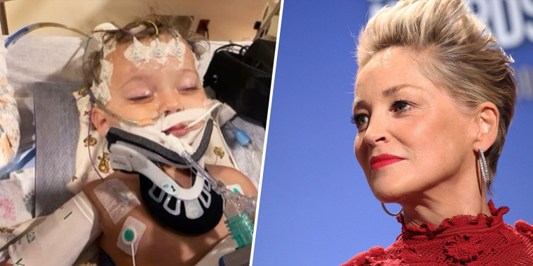 Split image of young boy in a hospital bed and Sharon Stone