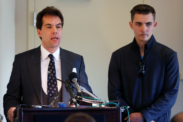 Jack Burkman, a lawyer and Republican operative, and Jacob Wohl, speak during a news conference to address their allegations against Special Counsel Robert Mueller in Arlington, Virginia